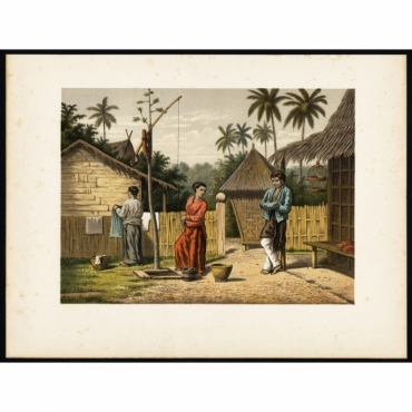 Pl.Ib. p.82 Domestic scene with locals on Kampong Babakan - Perelaer (1888)