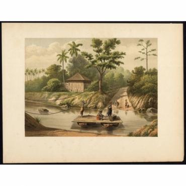 Pl.Ib p.200 Ferry over the Tjidoerian near Tjikandi on Java - Perelaer (1888)