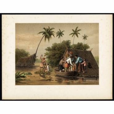 Pl.II p.32 Flooding near Tagal, Dessa near the Tagal river - Perelaer (1888)