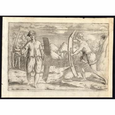 Pl.18 Afteeckeninge van de inwoonders van Banda soo sy ter oorlogh gaen - Commelin (1646)