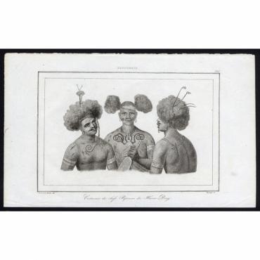 Pl.220 Costumes de chefs Papouas du Havre Dory, Papouasie - Rienzi (1836)