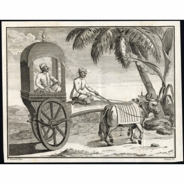 Untitled Print of an oriental man in a small carriage - Sonnerat (1782)