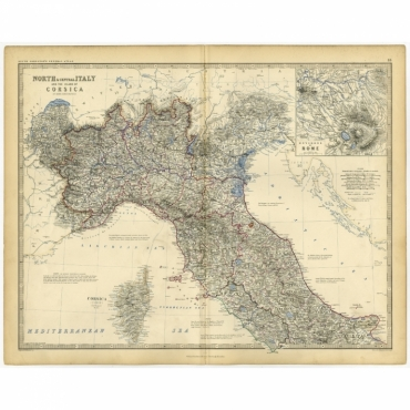 North & Central Italy and the Island of Corsica - Johnston (c.1860)