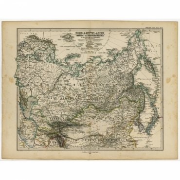 Nord- & Mittal-Asien, Ubersicht des Russischen Reiches - Stieler (1874)