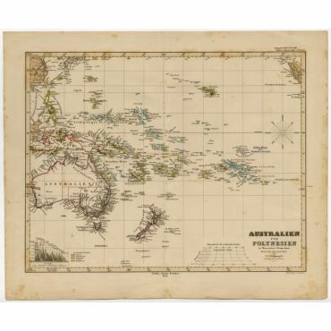 Australien und Polynesien in Mercators Projection - Stieler (1856)