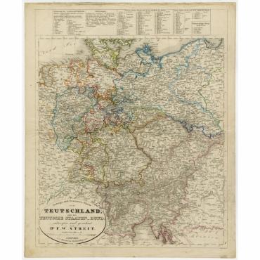 Gebirgs- und Gewaesser-Charte von Teutschland, oder der Teutsche Staaten-Bund - Leutemann (1842)