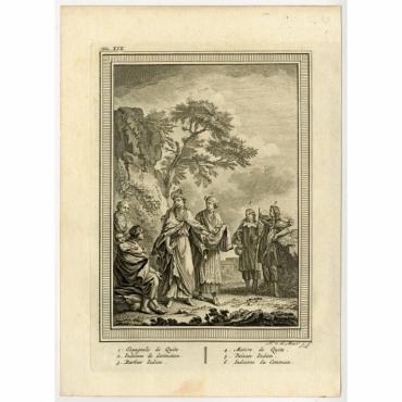 Untitled Print of six South-American figures - Van der Meer (c.1770)