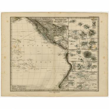 Polynesien und der Grosse Ocean (Ostliches Blatt) - Stieler (1873)