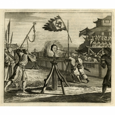 Untitled Print of a jousting tournament in Japan - Montanus (1669)
