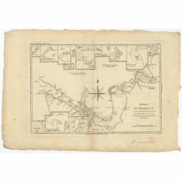Detroit De Magellan avec les Plans des principaux Ports, Bayes, & c. de ce Detroit - Bonne (1780)