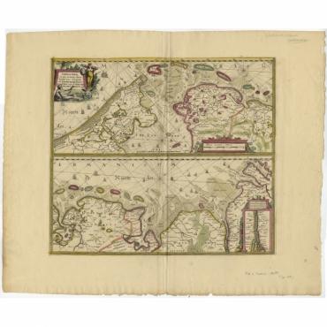Tabula Nova In qua accuratè demonstratur tota Navigatio ab Amstelodami Statione (..) - Hondius (c.1680)
