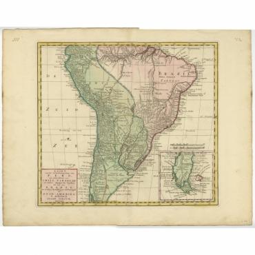 Kaart van het Onderkoningschap van Peru (..) - Tirion (c.1750)