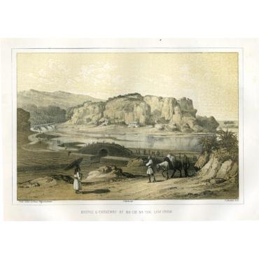 Bridge & Causeway at Ma-Chi-Na-Too - Heine (1857)