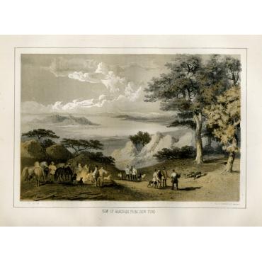 View of Hakodadi from Snow Peak - Heine (1857)