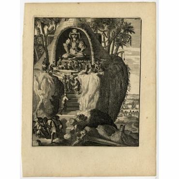 Een tempel, en afgod, van een bysondere grootte gesien - Schouten (1708)