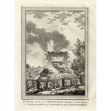 Maniere dont les Chingulais brulent leurs Morts - Van Schley (1750)