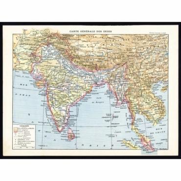 Carte Generale des Indes - Larousse (1897)