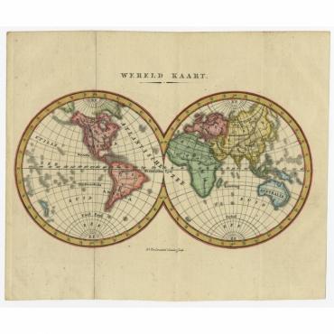 Wereld Kaart - Veelwaard (c.1840)