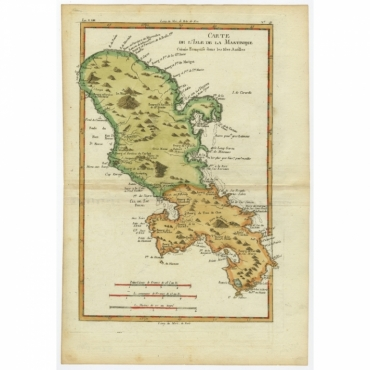 Carte de l'Isle de la Martinique Colonie Francoise (..) - Bonne (c.1780)
