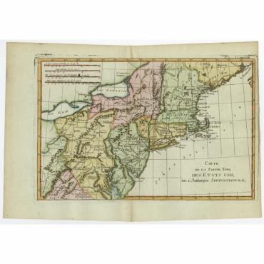 Carte De La Partie Nord, Des Etats Unis (..) - Bonne (c.1718)
