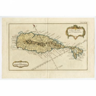 Carte de l'Isle de Saint-Christophe - Bellin (c.1765)