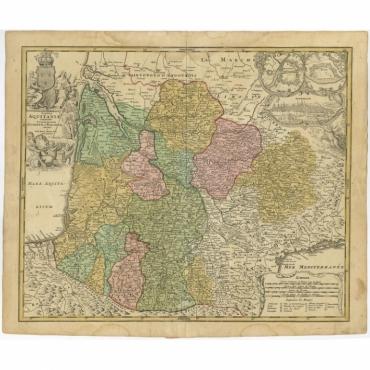 Tabula Aquitaniae complectens Gubernationem Guiennae et Vasconiae (..) - Homann Heirs (c.1730)