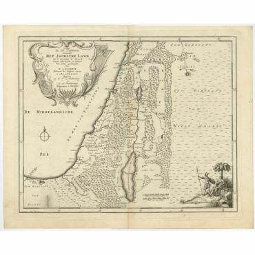 De VIde Landkaart Verbeeldende Het Joodsche Land (..) - Lindeman (1761)