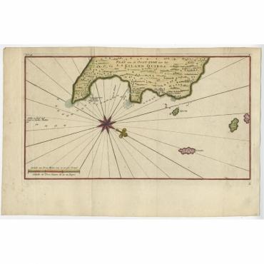 Plan van de Oost-zyde van het Eiland Quibo - Anson (c.1750)