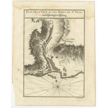 Plan de la Ville et des Forts de St. Yago - Bellin (1754)
