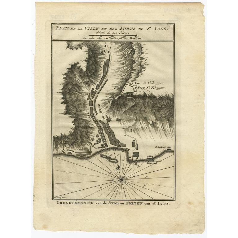 Plan de la Ville et des Forts de St. Yago - Van Schley (c.1750)
