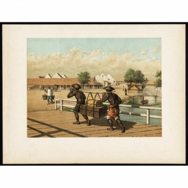 Pl.I p.36 Native koelies/carriers in Batavia - Perelaer (1888)