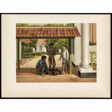 Pl.I p.98 A native chicken salesman in Batavia - Perelaer (1888)
