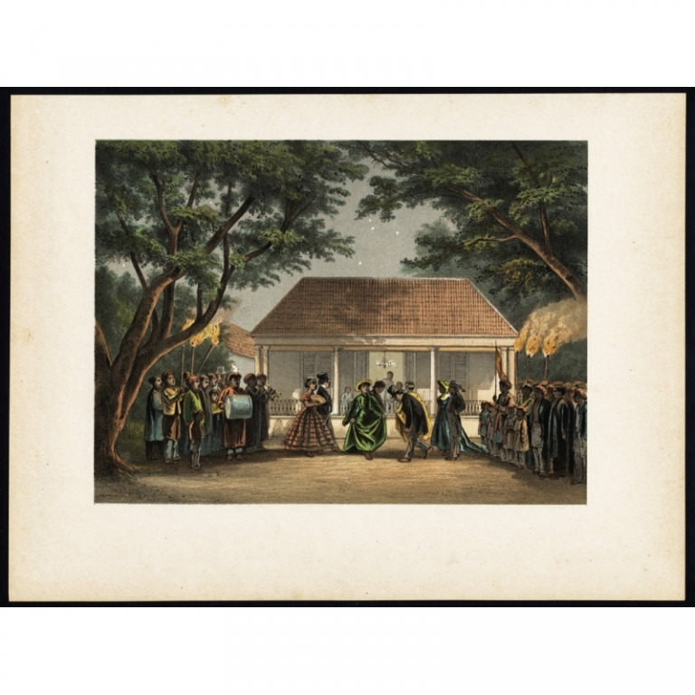 Antique Print of a Party in Batavia by Perelaer (1888)