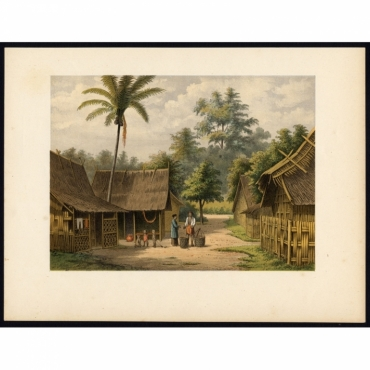 Pl.II p.26 Native family in Kampong Pakalang near Tagal - Perelaer (1888)