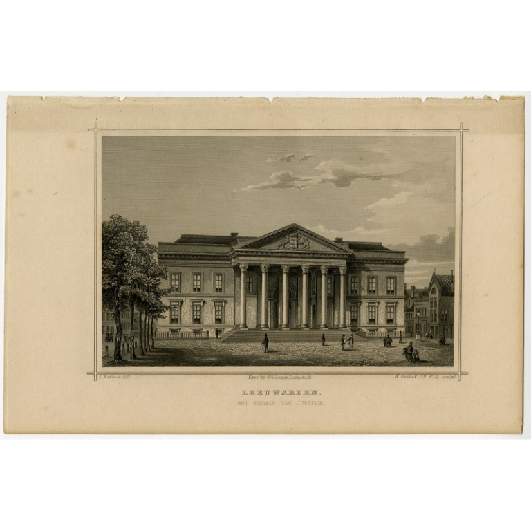 Antique Print of the Palace of Justice in Leeuwarden by Terwen (1858)