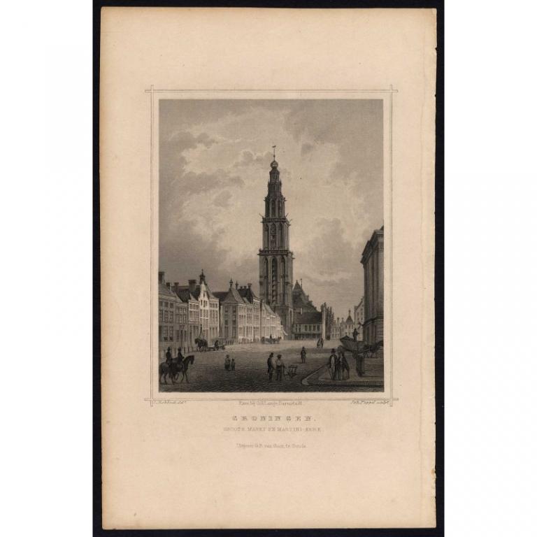 Groningen. Groote Markt en Martini Kerk - Terwen (1863)
