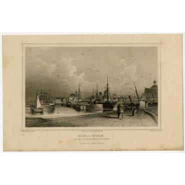 Harlingen. Van het Zuiderhavenhoofd gezien - Terwen (1863)