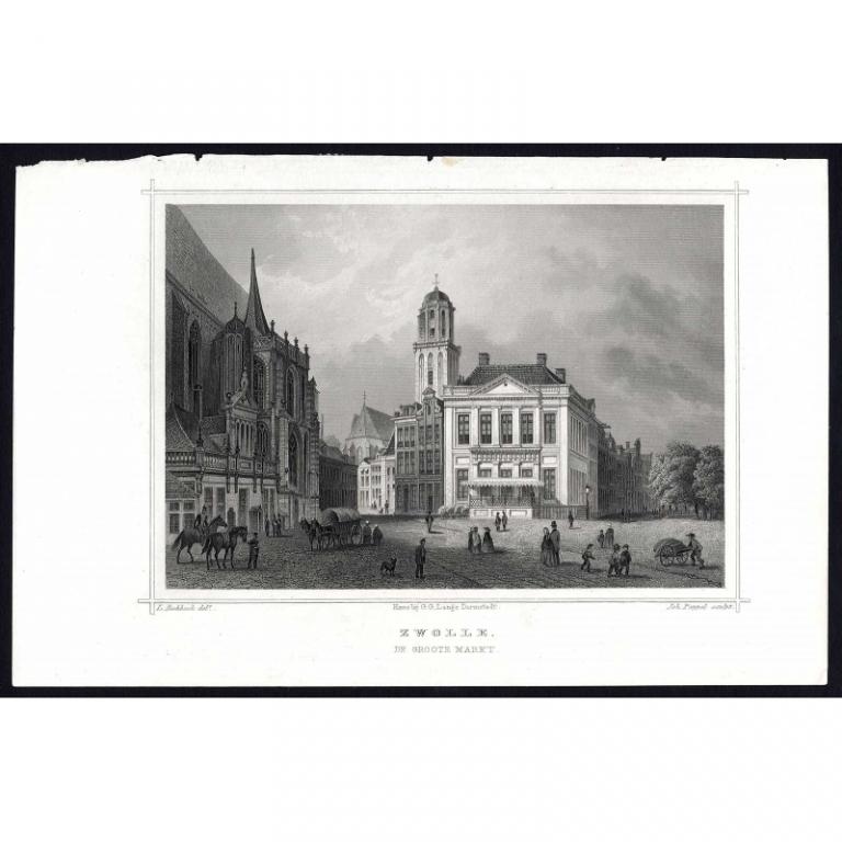Zwolle. De Groote Markt - Terwen (1863)