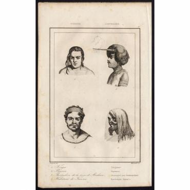 Pl.11 Tonga, Papoua-Australien de la terre d'Arnheim-Habitant de Tanna - Rienzi (1836)