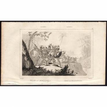Pl.61 Combat d'Anthropophages Borneo - Rienzi (1836)