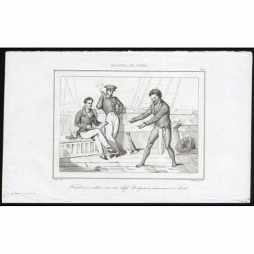 Pl.209 Tamboua-nekoro, un des chefs Indigenes conversant a bord - Rienzi (1836)