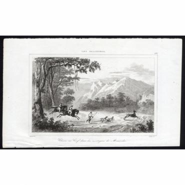 Pl.290 Chasse au Cerf dans les montagnes de Mariveles - Rienzi (1836)