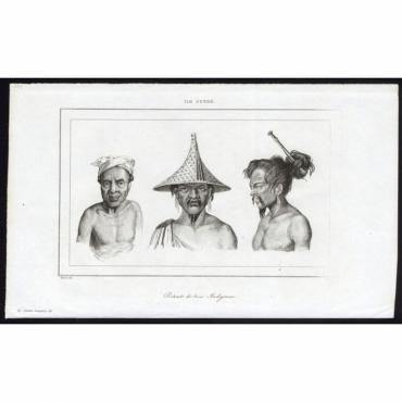 Pl.237 Portraits de trois Indigenes, Ile Guebe - Rienzi (1836)