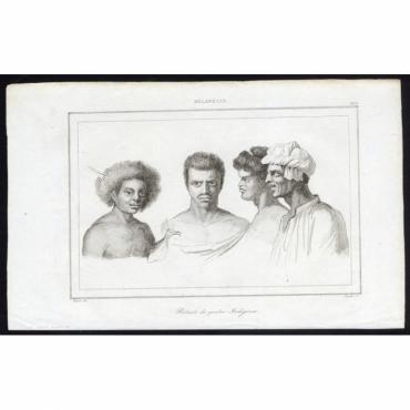 Pl.233 Portraits de quatre Indigenes, Melanesie - Rienzi (1836