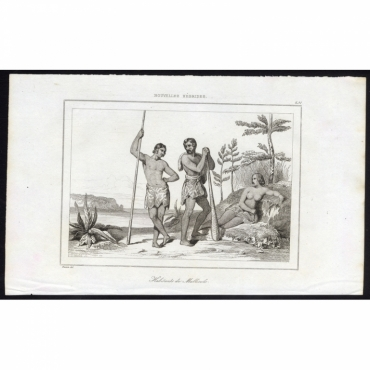 Pl.251 Habitants de Mallicolo, Nouvelles Hebrides - Rienzi (1836)