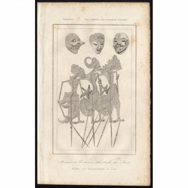 Pl.16 Masques et Costumes Theatrals de Java - Rienzi (1836)