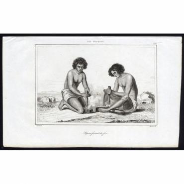 Pl.238 Papoux faisant du feu, Ile Veguiou - Rienzi (1836