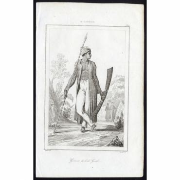 Guerrier de l'ile Guebe - 235, Melanesie - Rienzi (1836)