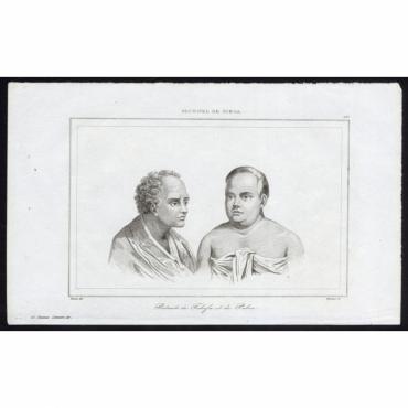 Portraits de Tahofa et de Palou - 197, Archipel de Tonga - Rienzi (1836)