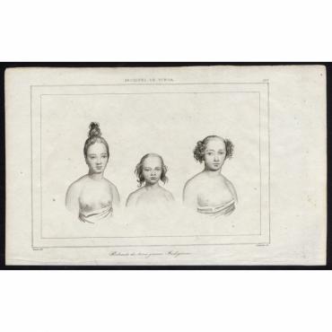 Portraits de trois jeunes Indigenes - 199, Archipel de Tonga - Rienzi (1836)